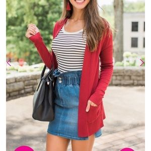 Sweaters - Burgundy and Plum Cardigan
